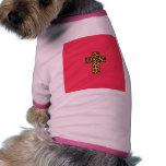 Trendy Fashion Cheetah Print Cross on Pink Neon Doggie Tshirt