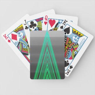 Trendy Fashion Triangle Green Neon Line Art Poker Deck