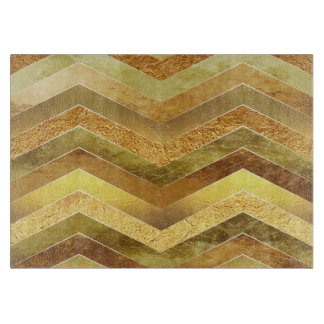 Trendy Faux Gold Foil Chevrons Cutting Board