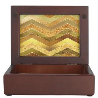 Trendy Faux Gold Foil Chevrons Keepsake Box