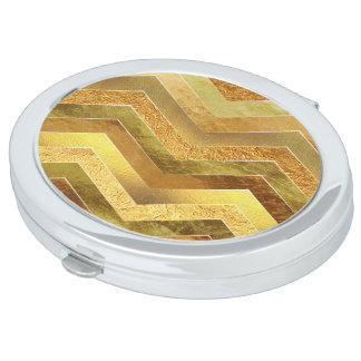 Trendy Faux Gold Foil Chevrons Mirrors For Makeup