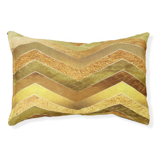 Trendy Faux Gold Foil Chevrons Pet Bed