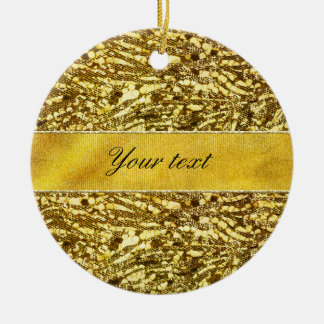 Trendy Faux Gold Foil Zebra Stripes Ceramic Ornament
