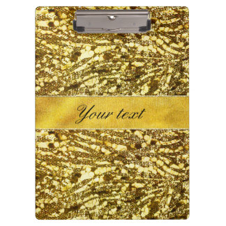 Trendy Faux Gold Foil Zebra Stripes Clipboards