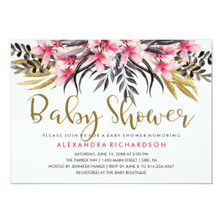 Trendy Faux Gold Glitter Floral Baby Shower Card