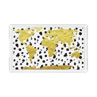 Trendy Faux Gold World Map & Dalmatian Print Acrylic Tray