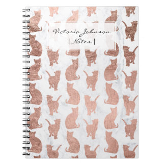 Trendy faux rose gold cats pattern white marble notebook