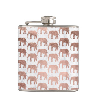 Trendy faux rose gold elephants white marble hip flask