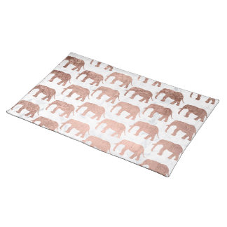 Trendy faux rose gold elephants white marble placemat