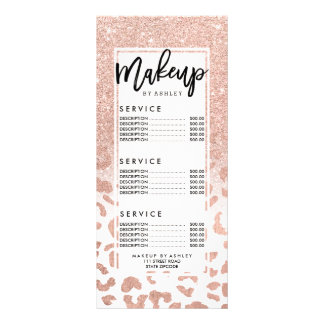 Trendy faux rose gold glitter leopard price list rack card
