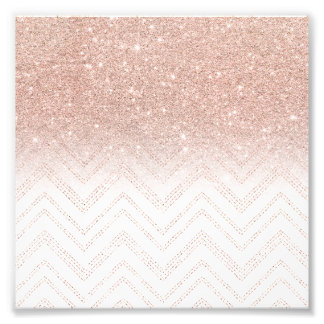 Trendy faux rose gold glitter ombre modern chevron photograph