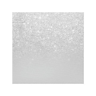 Trendy faux silver glitter ombre grey color block canvas print