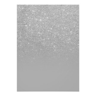 Trendy faux silver glitter ombre grey color block poster