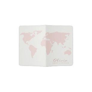 TRENDY FEMININE BLUSH PINK ROSE GOLD WORLD MAP PASSPORT HOLDER