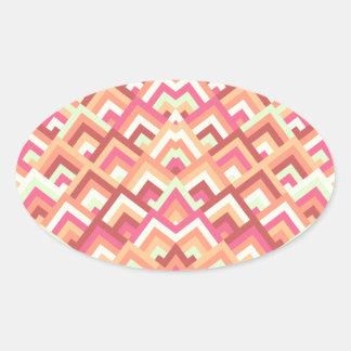 Trendy Feminine Zigzag Symmetric Peeks Pattern Oval Stickers