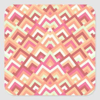 Trendy Feminine Zigzag Symmetric Peeks Pattern Square Stickers
