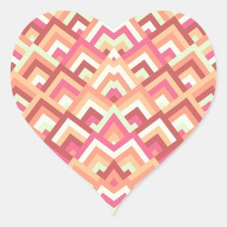 Trendy Feminine Zigzag Symmetric Peeks Pattern Heart Stickers