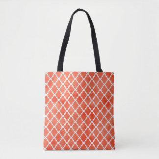 Trendy Flame Orange Watercolor Quatrefoil Pattern Tote Bag