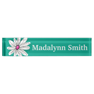 Trendy Floral Daisy Illustration - Pink and Green Nameplate
