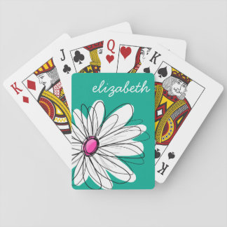 Trendy Floral Daisy Illustration - Pink and Green Poker Deck