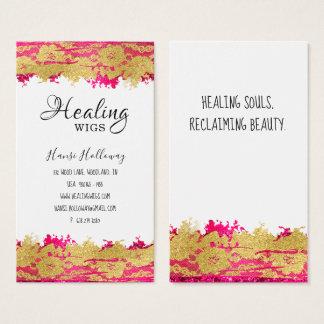 Trendy Floral Lace Hair Salon Nails Business Card