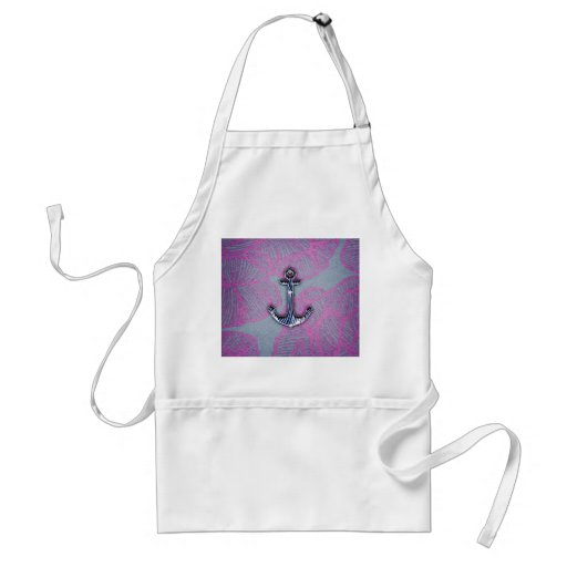 Trendy Floral Paper Blue and Purple Anchor Apron