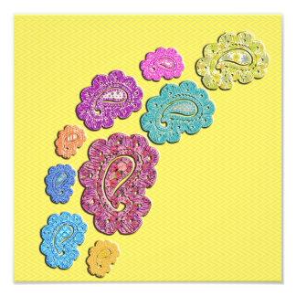Trendy floral pastel polka dot paisley photographic print