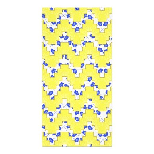 Trendy Floral Pastel Zig Zag Customized Photo Card