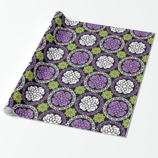 Trendy Floral Pattern - Orchid and Lime Green Wrapping Paper