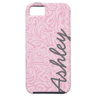 Trendy Floral Pattern with name - pink and gray iPhone 5 Cover