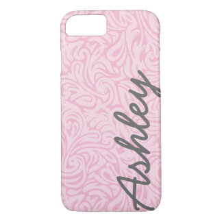 Trendy Floral Pattern with name - pink and gray iPhone 7 Case