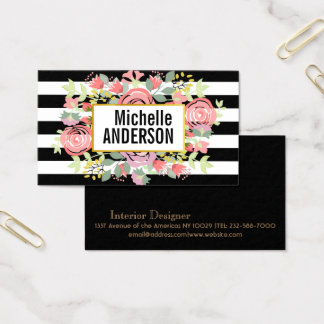 Trendy floral striped monogram business card
