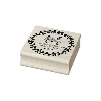 Trendy Floral Wreath Custom Monogram Rubber Stamp