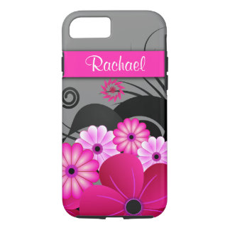Trendy Fuchsia Pink And Gray Floral Hibiscus Tough iPhone 8/7 Case