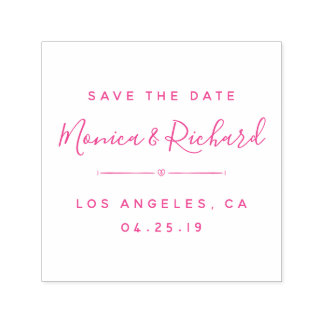 Trendy Fuchsia Wedding Calligraphy Save The Date Self-inking Stamp