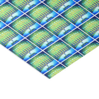 Trendy, Fun, Blue Hanukkah Menorahs Pattern Photo Tissue Paper