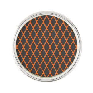 Trendy Geometric Checkered Black Orange Pattern Lapel Pin