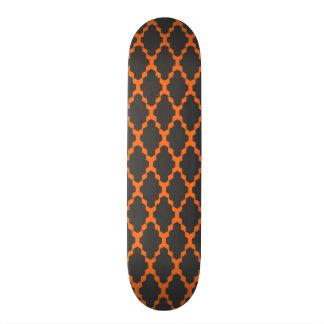 Trendy Geometric Checkered Black Orange Pattern Skateboard