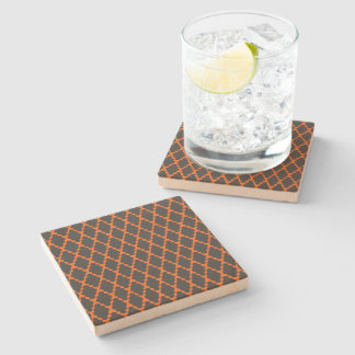 Trendy Geometric Checkered Black Orange Pattern Stone Coaster