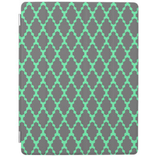 Trendy Geometric Checkered Black Teal Pattern Art iPad Cover