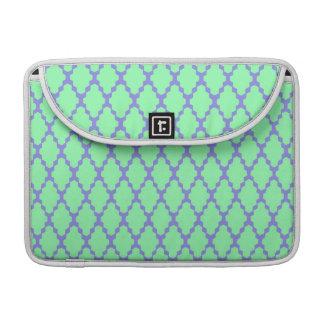 Trendy Geometric Checkered Teal Purple Pattern Art Sleeves For MacBooks