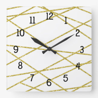 Trendy Geometric gold and white decor Square Wall Clock