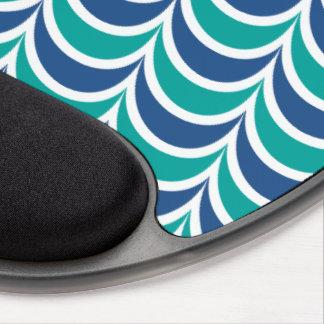 Trendy Geometric Pattern Blue Green Wavy Stripes Gel Mouse Pads