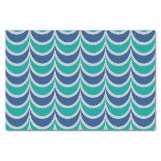 Trendy Geometric Pattern Blue Green Wavy Stripes Tissue Paper