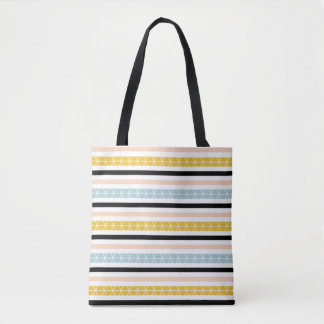 Trendy Geometric Striped Pattern Tote Bag