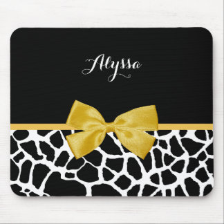 Trendy Giraffe Animal Print Yellow Bow With Name Mouse Pad