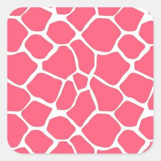 Trendy giraffe pattern pink square sticker