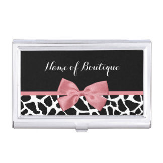 Trendy Giraffe Print Rosy Pink Bow Boutique Business Card Holder