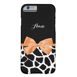 Trendy Giraffe Print With Name and Chic Orange Bow Barely There iPhone 6 Case