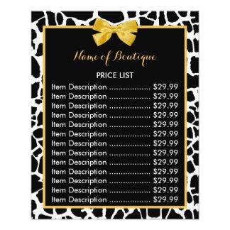 Trendy Giraffe Print Yellow Bow Boutique Price 11.5 Cm X 14 Cm Flyer